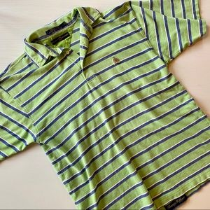 90s Vintage Tommy Hilfiger Green Striped Polo
